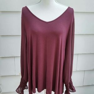 Rich plum tunic/sheer sleeves by Papermoon sz L